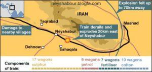 نقشه حادثه قطار نیشابور